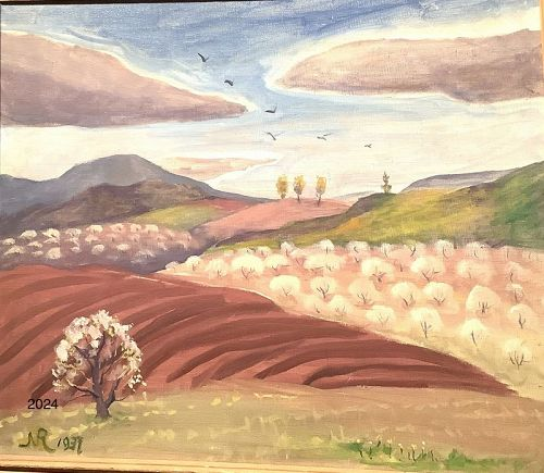 Cotton Trees 1937 dated Oil on Masonite signed NR