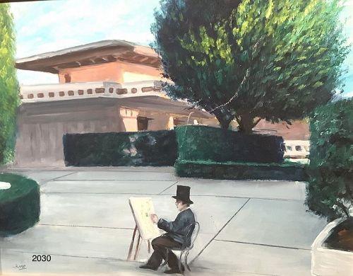 "Roman artist Mario Russo, Wright Home Palm Springs Oil 16x20"""
