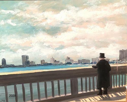 "Roman Master Mario Russo Oil 19th Century Man in 20th century 16x20"""