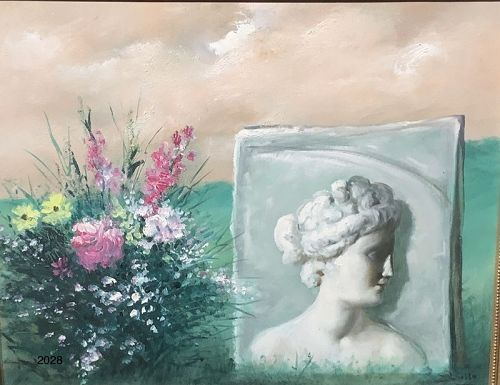 "Roman artist Mario RUSSO, ancient Roman Sculpture with flowers 16x20"""