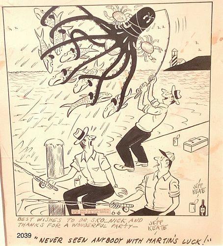 """Jeff Keatie American Cartoonist Original 10x8"""""""