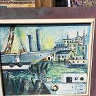 Bridgeport Harbor Cubist Oil 1930