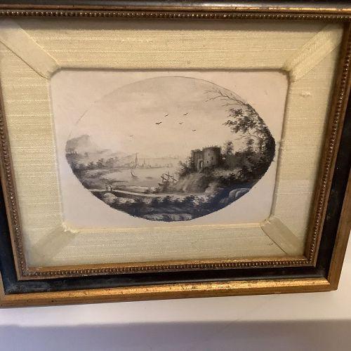 "English Eighteenth Century oval Watercolor circa 1820 7x8"""