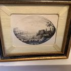 "English Eighteenth Century oval Lithograph 7x8"""