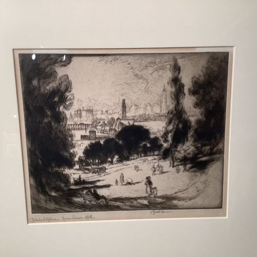 """Etching by Joseph Pennell 1857-1923 l""""Philadelphia"""" 8x10"""""""