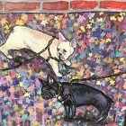 Anne Lane American Artist �Bulldogs� oil 14x11�