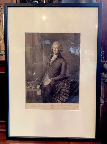"""English lithograph """"The Right Honorable William Pitt"""" 1790"""