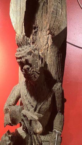 """Thailand Wood Sculpture Guardian 35"""" tall"""