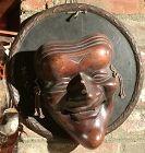 Japanese Edo Kabuki Wooden  Sculpture Of A Mask 11�
