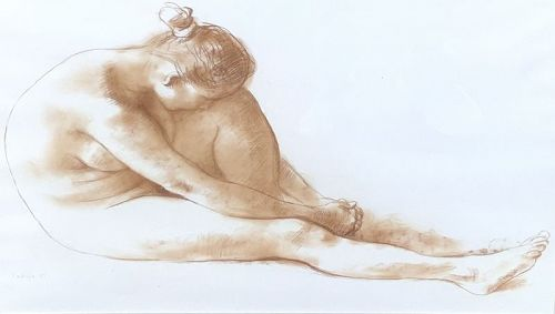 "Francisco Zuniga Nude Study In Red Chalk 20x28"""