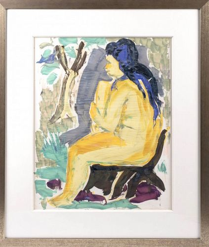 WERNER DREWES (AMERICAN, 1899-1985) NUDE Watercolor on paper: 23 x 18