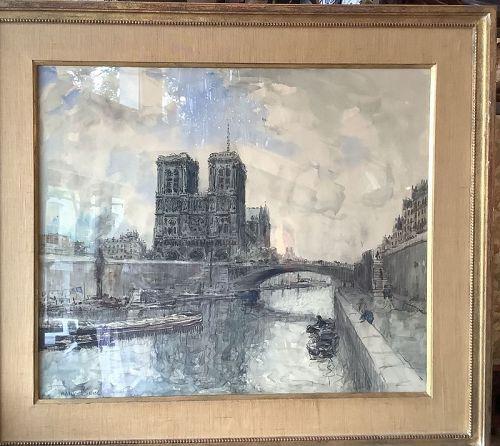 "American Impressionist Frank Boggs 1855-1926 NOTRE DAME 21x25"""