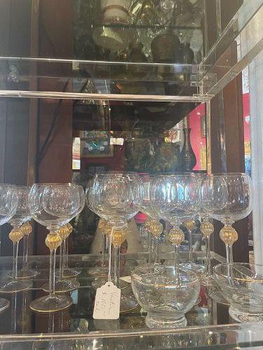 Hand Blown Murano Gold Leaf Wine Glasses