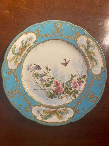 1881 Bird and Flowers Copeland and Spade Plate with Hand enameling