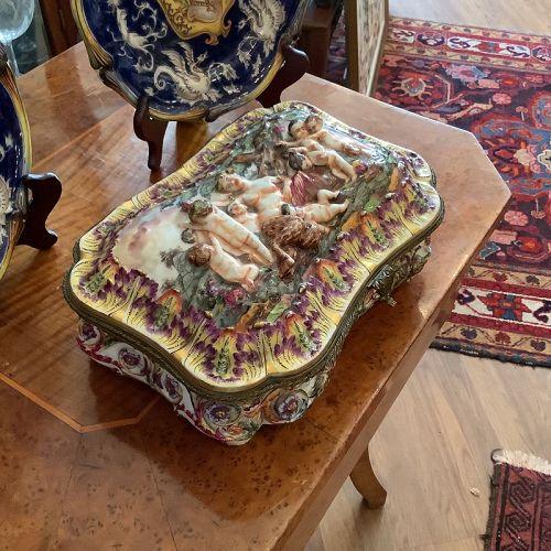Important Italian Capodimonte Massive Jewel Casket nineteenth Century