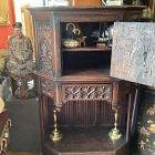 International Gothic Revival Receiving Cabinet Fumed Oak