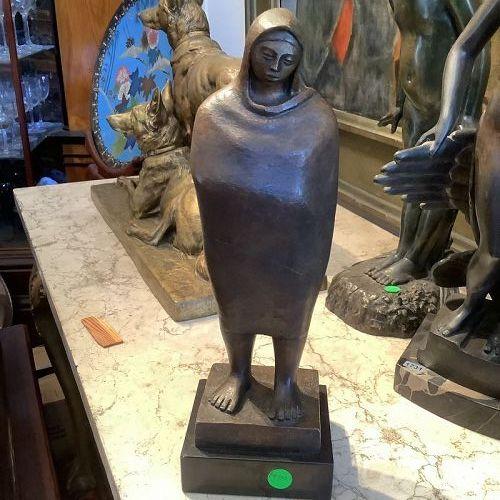 "Mexican Artist Fidel Signed Bronze Figure14.5"""