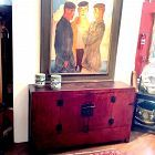 """Chinese Qing Dynasty Vermillion Dongbei Console Cabinet 62"""" wide"""