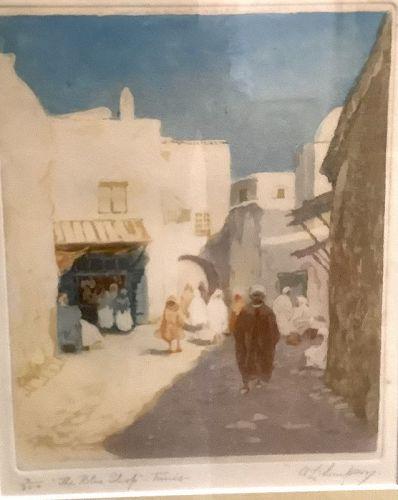 "19th Century French Artist A.L. Simpson Tunis Algeria Woodblock 22x16"""