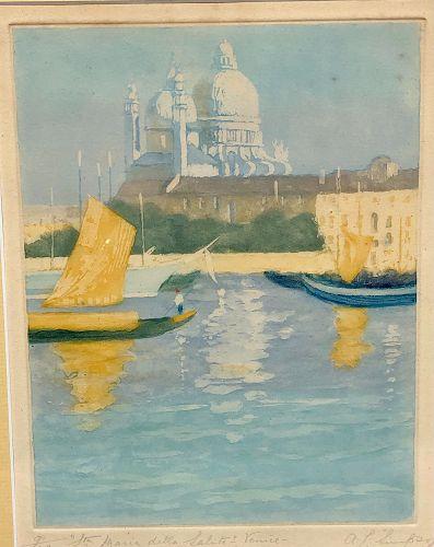 "19th Century French Artist A.L. Simpson  Woodblock Venice 22x16"""