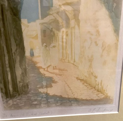 19th Century French Artist A.L. Simpson Woodblock Le Belat,Tunis 22x16