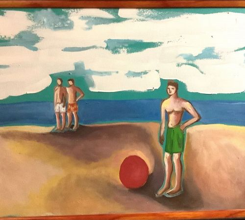 """Anne Lane American Artist-Beach Boys,Oil 18x18"""""""