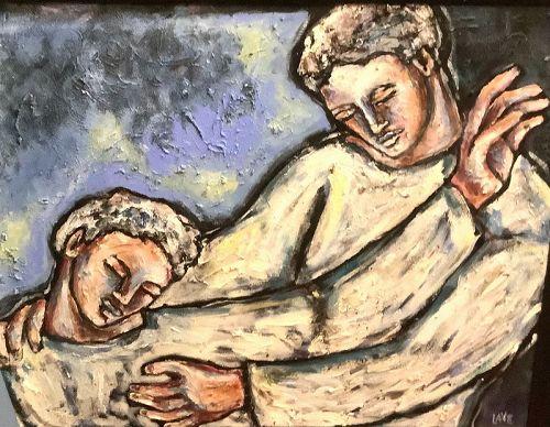 "Anne Lane American Artist-Surrealist Work ""Not Alone"" Oil 30x40"""