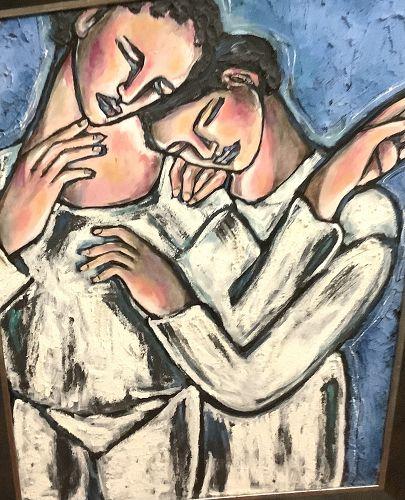 "Anne Lane American Artist-Surrealist Work,""The Choice,Oil 40x30"""