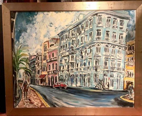 Anne Lane American Master Artist-Street In Old San Juan,P.R. Oil 56x69