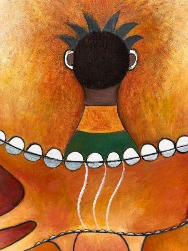 Ephrem Kouakou Ivory Coast Artist -Orange Demons 50x40 inches