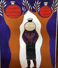 """Ivory Coast Artist Ephrem Kouakou-The Red Treet Pots,Oil 50x40"""""""
