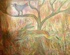 "Ivory Coast Artist Ephrem Kouakou-The Forrest Run"" 40x50 inches Oil"