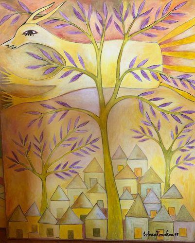 Ivory Coast Born Artist Ephrem Kouakou-Yellow Village and Deer