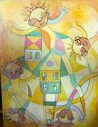 "Ivory Coast Artist Ephrem Kouakou-""The Homeland Dream"" 50x40""Oil"