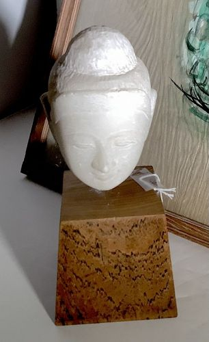 """Southeast Asian Alabaster Carved Head of Buddha 9.5"""""""