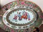 Chinese Famille Rose Mandarin Canton Qing Dynasty Serving Plate 10x7.5