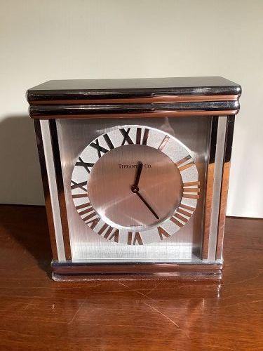 Tiffany & Co. Deco  Clock Beautiful Heavy Silver Plate  6x5 1/2 in.