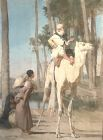 """French Artist Gustave A. Guillame Orientalist Pastel 42x30"""""""