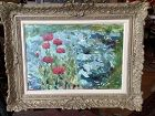 """A. H. Signed Original The Poppies"""" Framed Oil 14x18"""" dated 1970"""