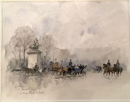 "French 19th Century  Artist L. De Tourneville, Paris Scene 8x10"""