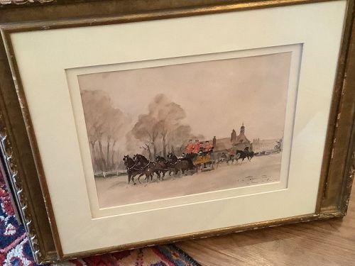 "Harnessing The Horses"" 19th Century Aquatint 3x5"""