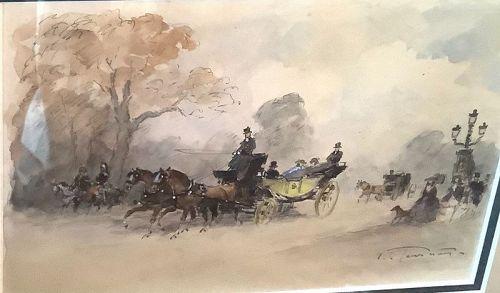 """L. De Tourneville French Watercolor 19th century 8x10"""""""