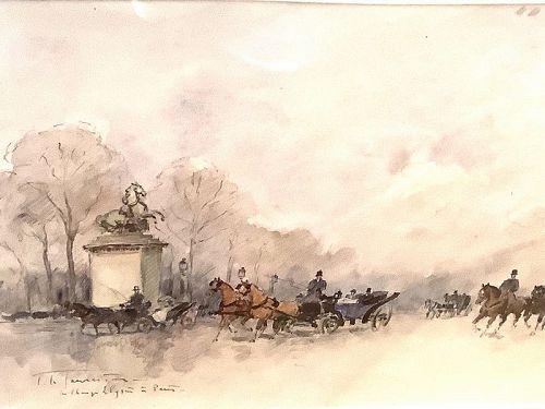 """L. De Tourneville French Watercolor 19th century 8x10"""" Paris II"""