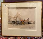 "L. De Tourneville French Watercolor 19th century 8x10"" Paris III"