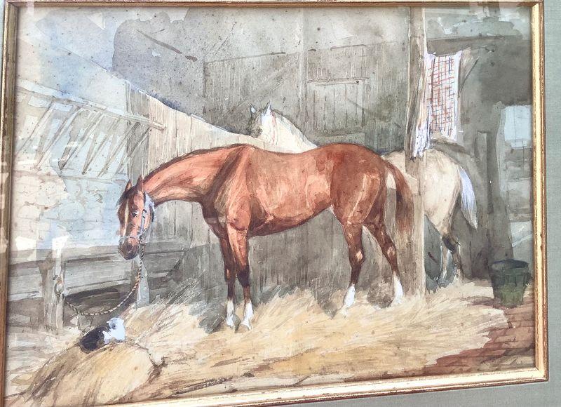 "Nineteenth Century Equine Watercolor ""Les Chavaux"" 9x12"""