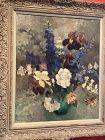 """British Artist Eva Wedlow """"Peonies & Delphinium"""" Oil 24x20"""