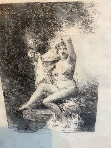 "French Artist Henri Fantin-Latour 1836-1904 Lithograph""VERITE"" 8x6"""