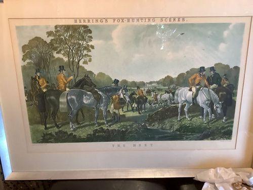 "John Frederick Herring's (1795-1865)Fox Hunting Scenes  Litho 28x39"""