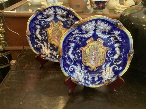 """18th Century French Majolica signed """"St. Clément"""" Pair Plates"""