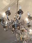 """French Renaissance Style Pewter Chandelier Putti Decoration 28""""x32"""""""